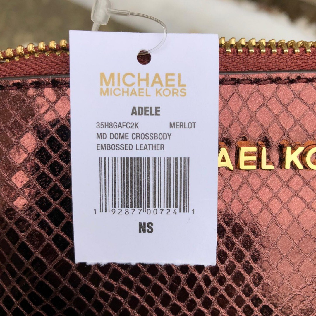dc6639adf01d0f ETA 4/2 Michael Kors Adele Medium Dome Embossed Crossbody in Merlot,  Luxury, Bags & Wallets 喺Carousell
