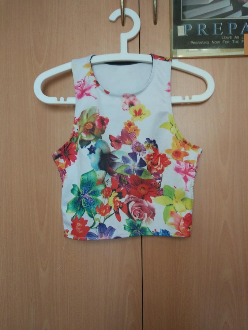 Floral Back Cutout Crop Top