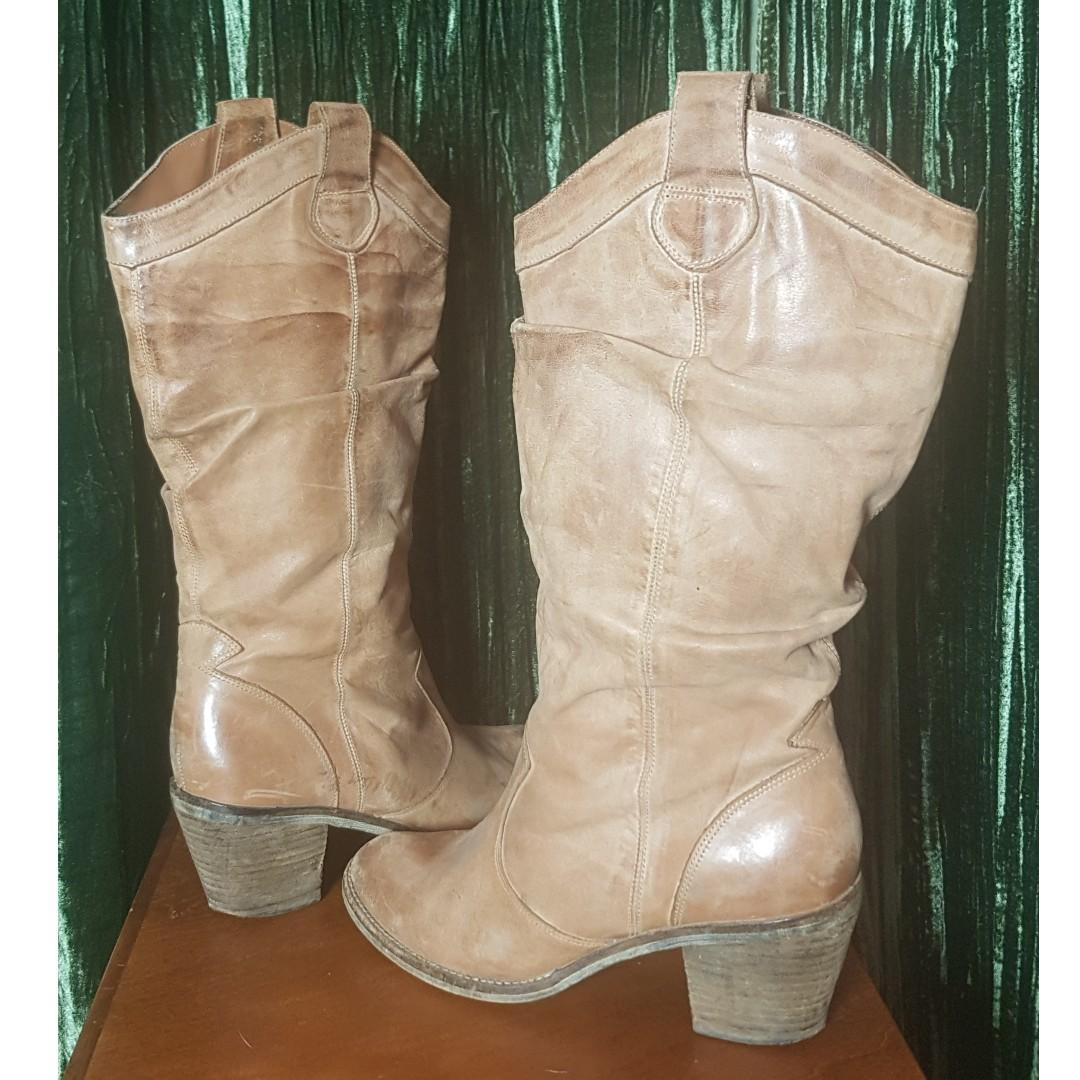 Giddy up gal! Camel, all leather cowgirl boots, size 9.