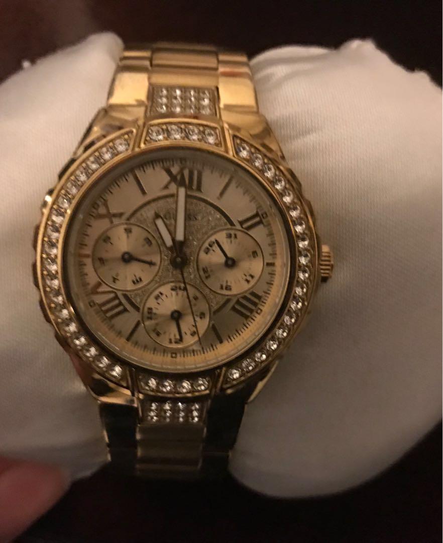 Gold-tone guess watch
