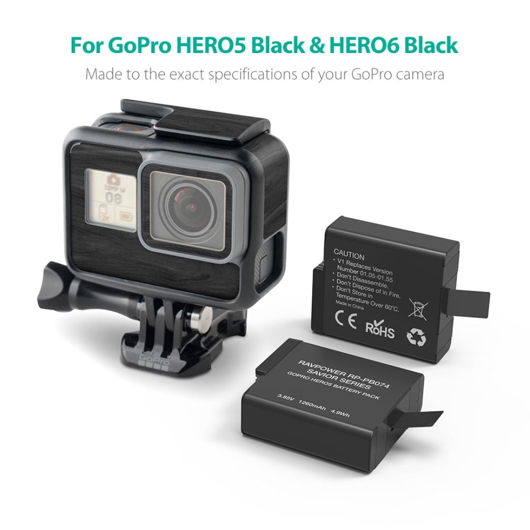 GOPRO HERO 6/5 Battery & Charger Set by RAVPOWER RP - PB074