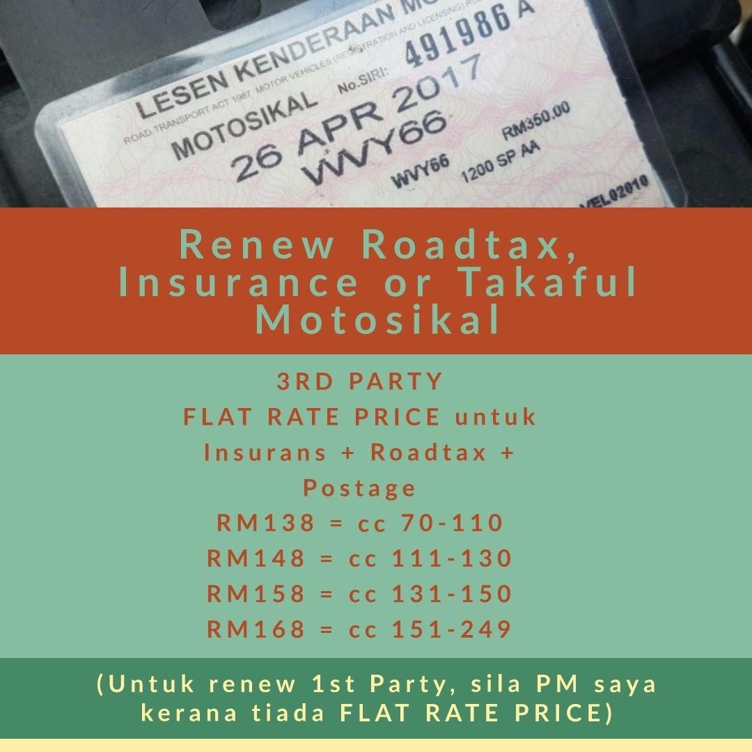 Jom Renew Roadtax Insurance Takaful Insurans Cukai Jalan Murah 3rd Party Motorbikes On Carousell