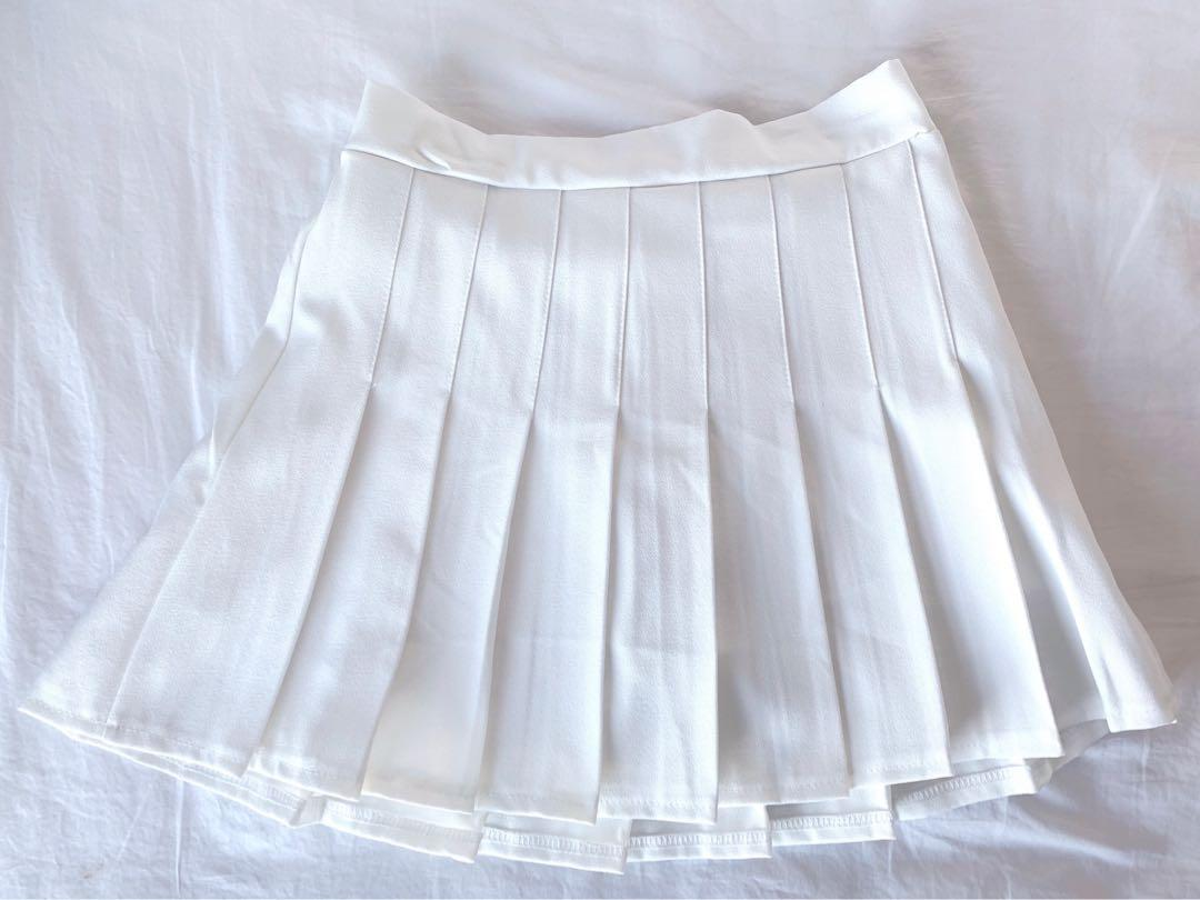 Korean White Pleated Skirt