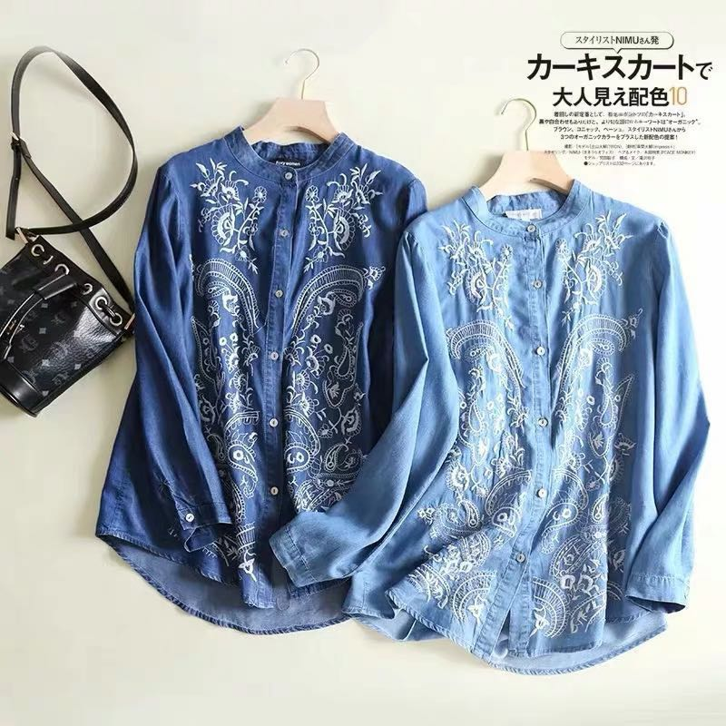 1e3d04cf82d Loose Fitting Embroidered Tencel Denim Stand Collar Long Sleeve Thin Shirt  Single Breasted Blouse