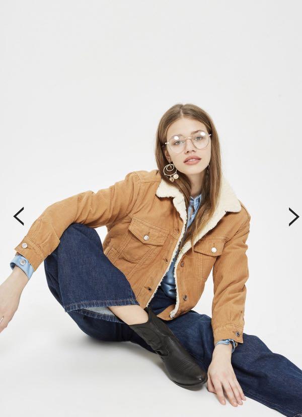 MOTO Tan Corduroy Oversized Jacket