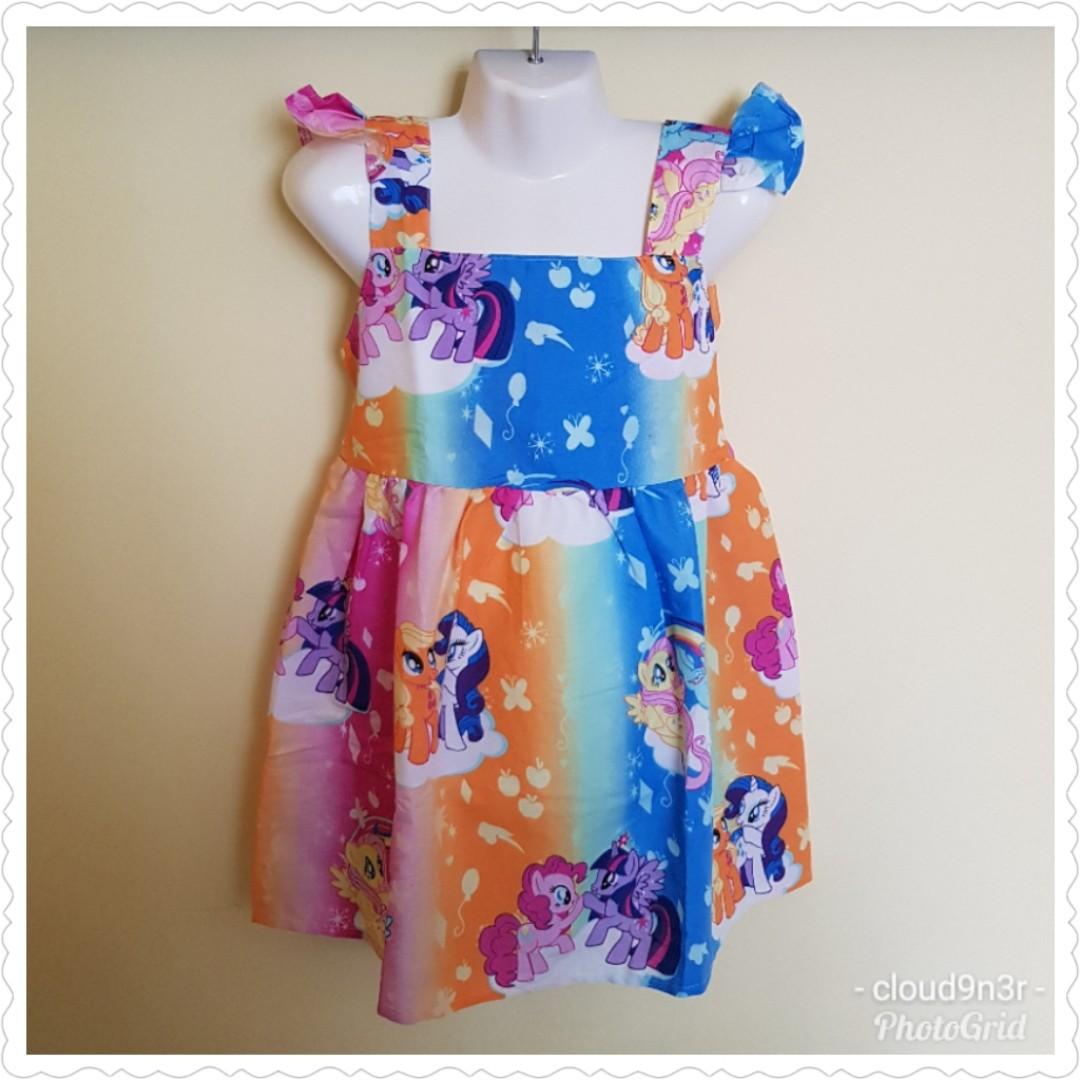 431b2de18314c *New Arrival* Handmade Premium Ruffles Sleeve Tie back Dress – Rainbow My  Little Pony
