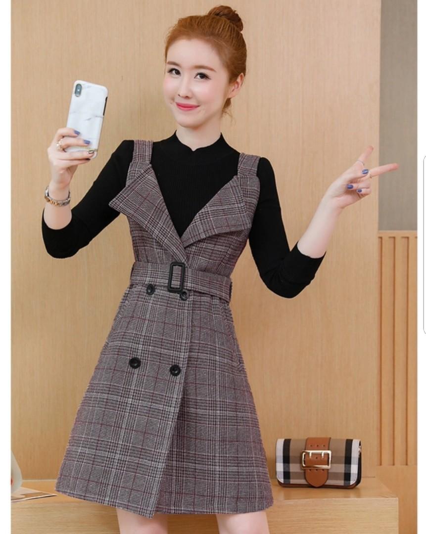 be64d54e8 New Instocks] Korean Ulzzang Style Brown Checkered Dress / Korean ...