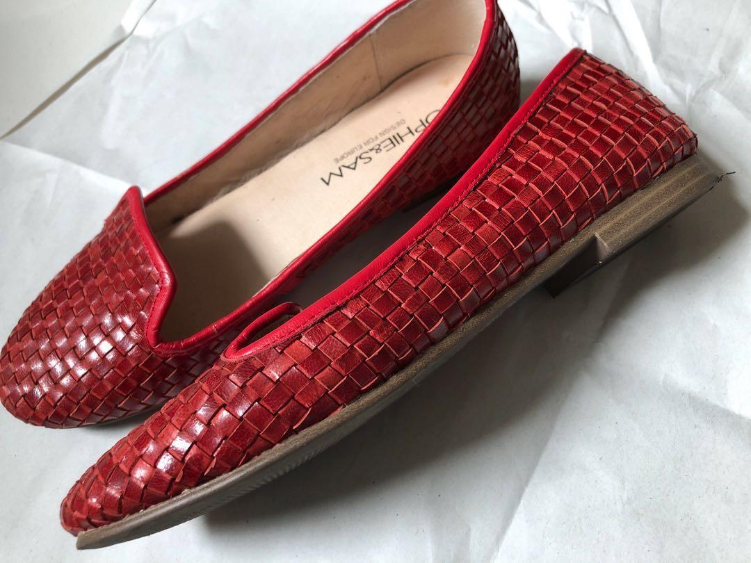 (Preloved) Genuine leather weaved loafees