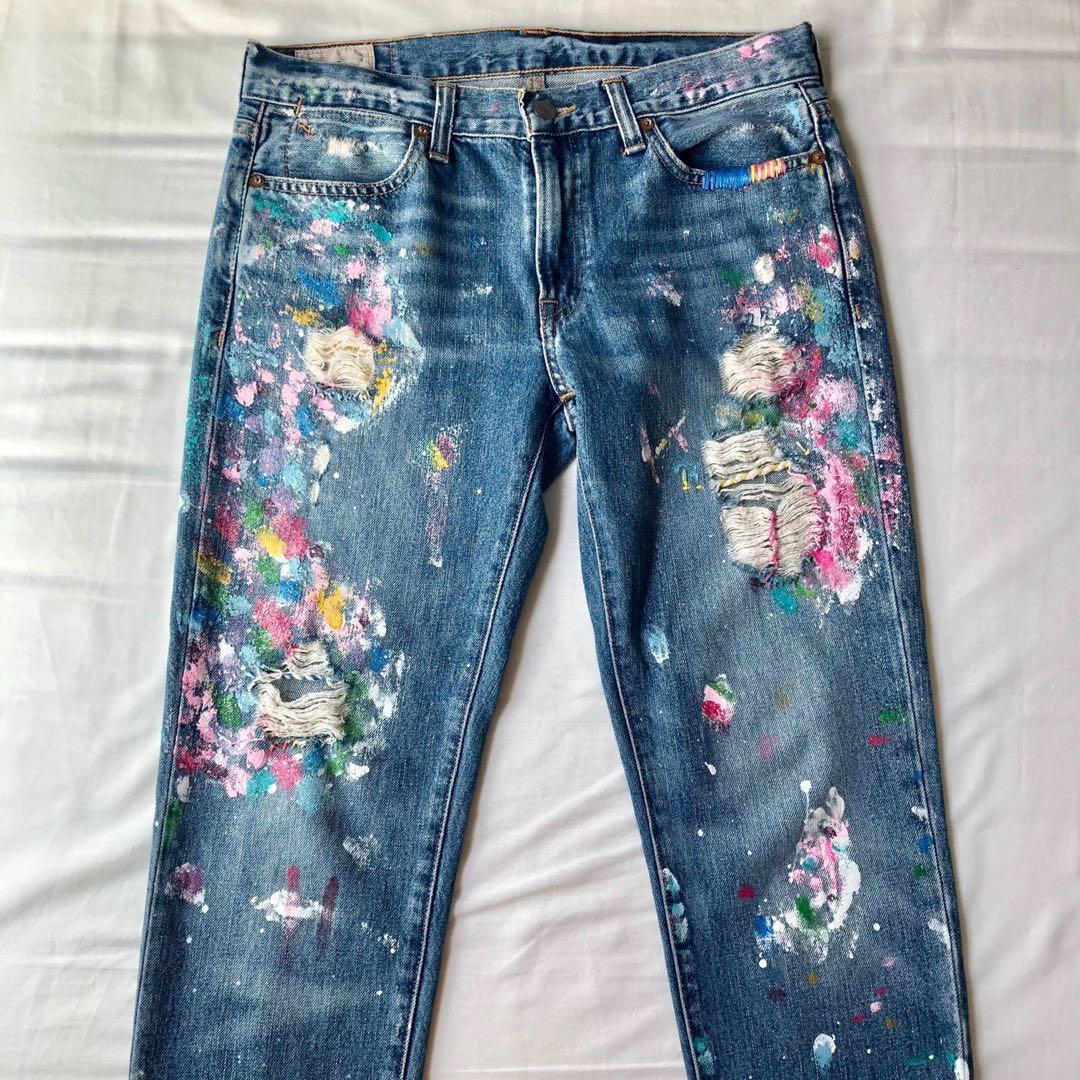 Ralph Lauren Paint Splattered Denim Jeans Womens Fashion Clothes