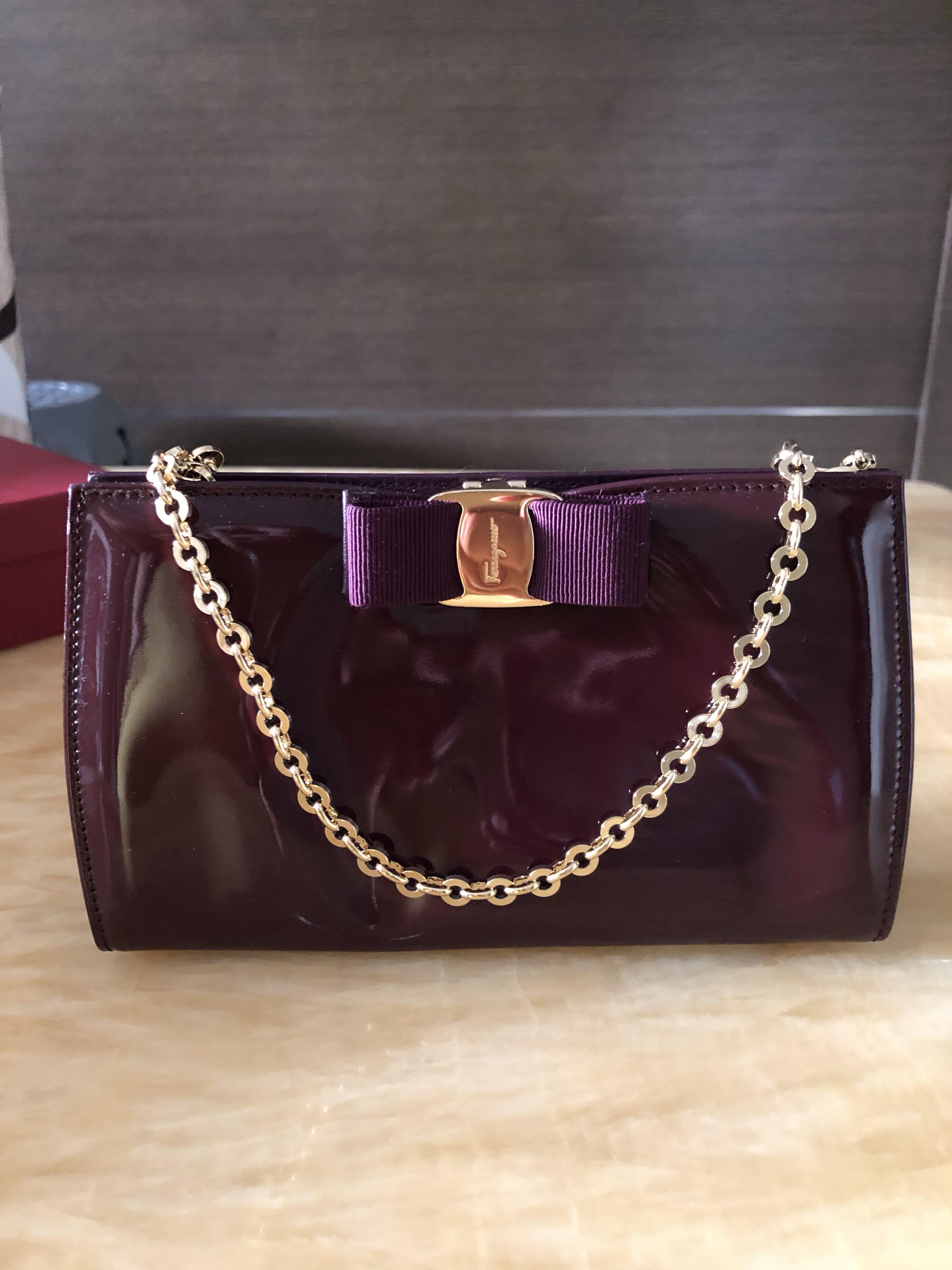 2d79cc189464 Salvatore Ferragamo Miss Vara Patent Leather Clutch on Chain