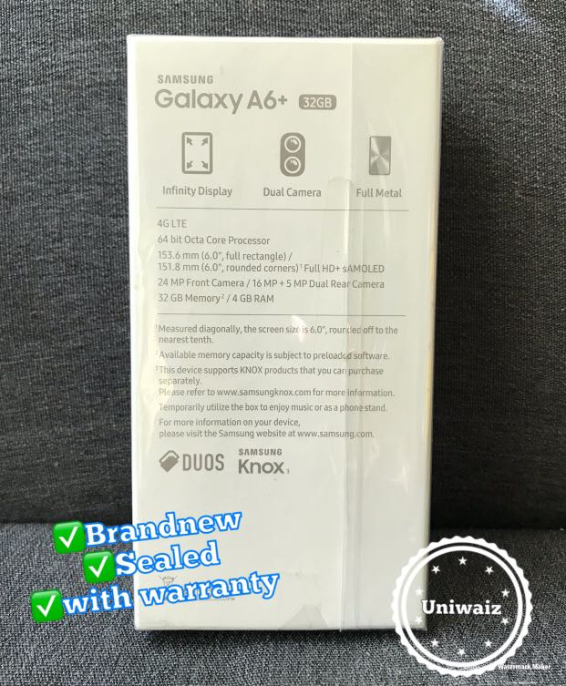 Samsung A6 Plus 32gb Brandnew with Free Smart LTE sim