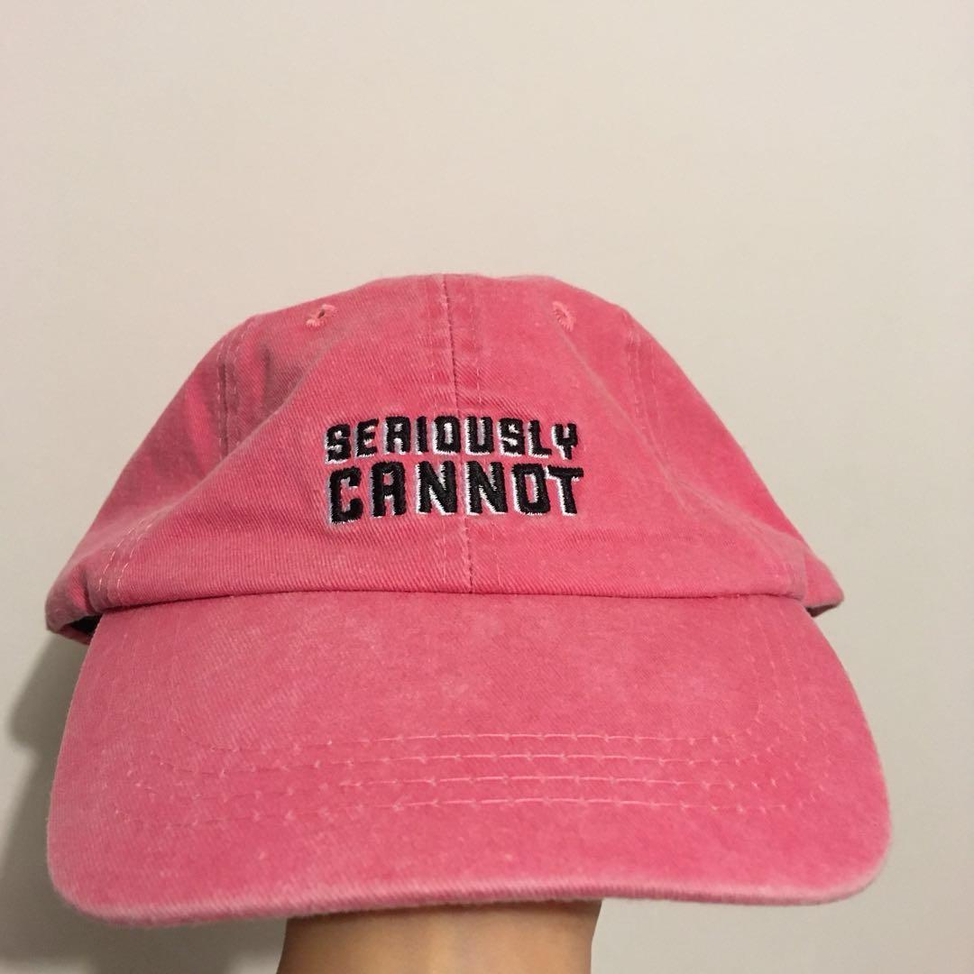 'seriously cannot' embroidered red cap hat