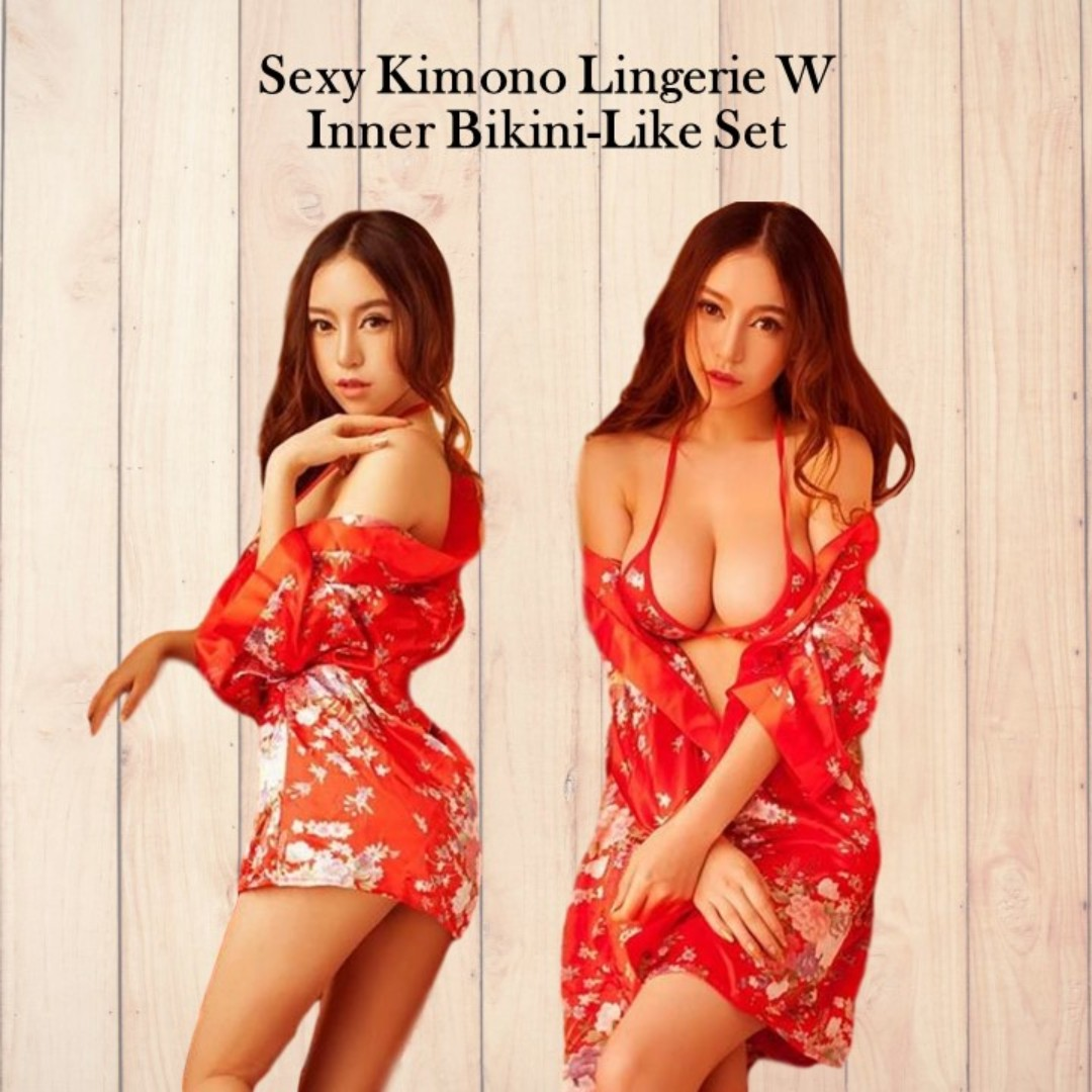 Ready Stock! Sexy Kimono Lingerie W Inner Bikini-Like Set 7e51bf631