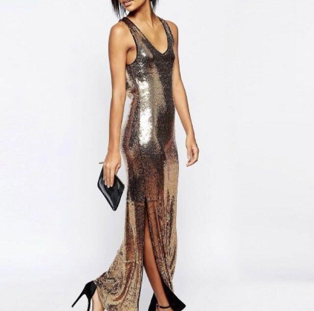 Stunning Gold Sequin Maxi dress purchased from Asos.