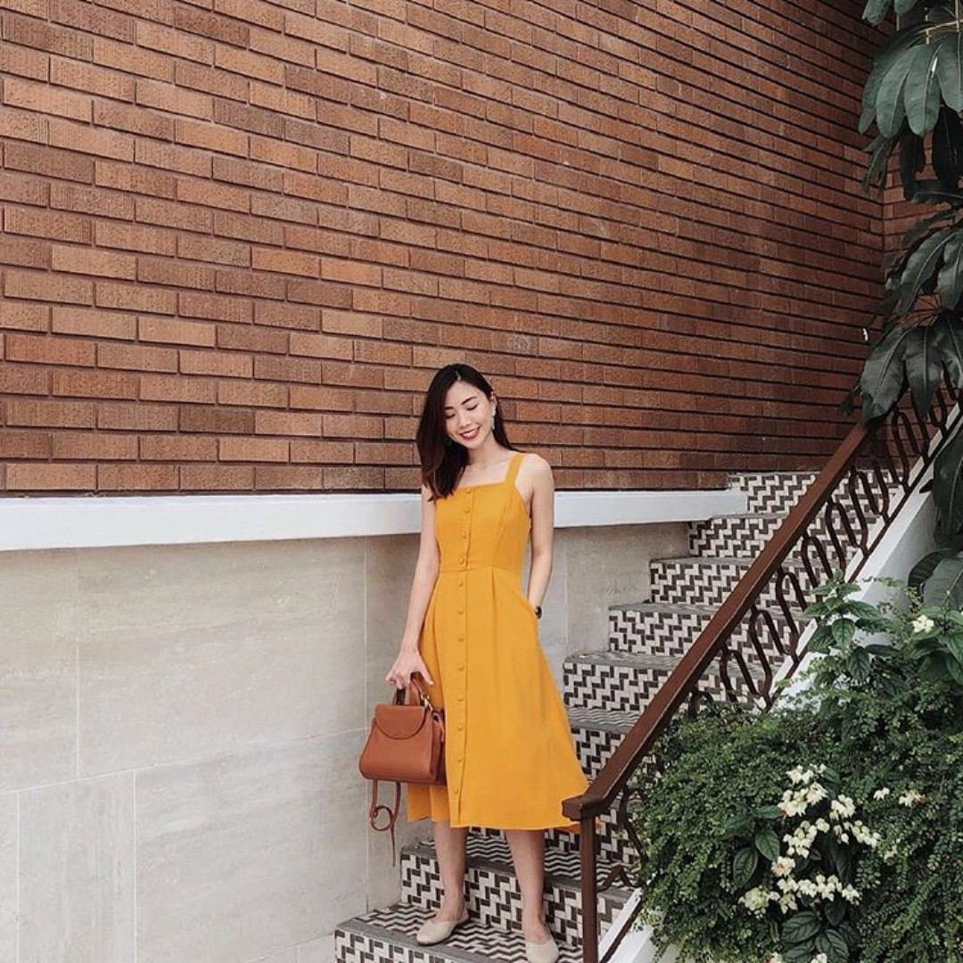 440a8d95a6c3 TheStageWalk TSW Mirabelle Button Down Midi Dress in Mustard Yellow ...
