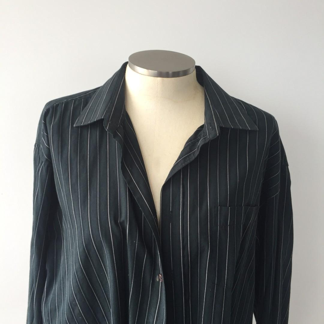UNISEX OVERSIZED GREEN PINSTRIPE SHIRT