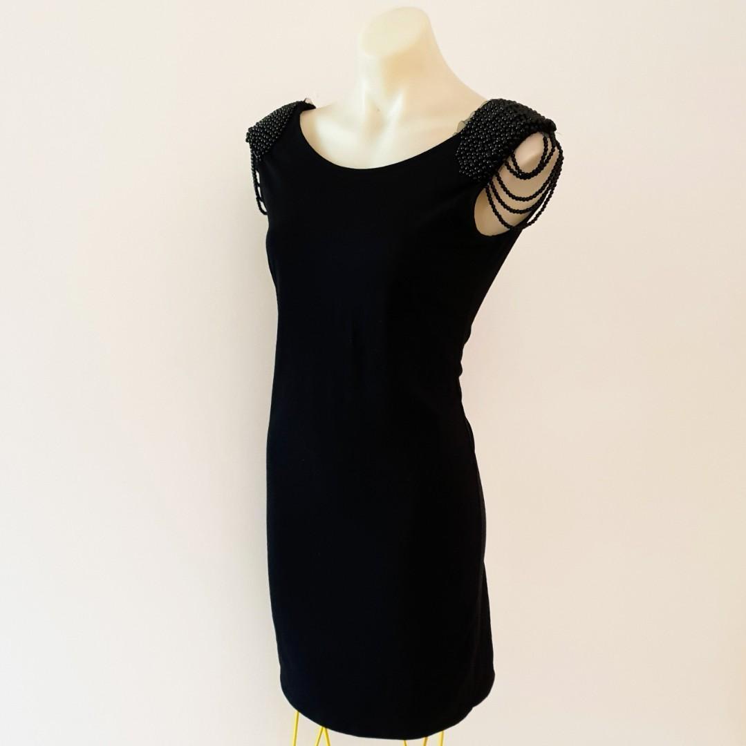 Women's size 10 Gorgeous little black dress/long top with shoulder beading