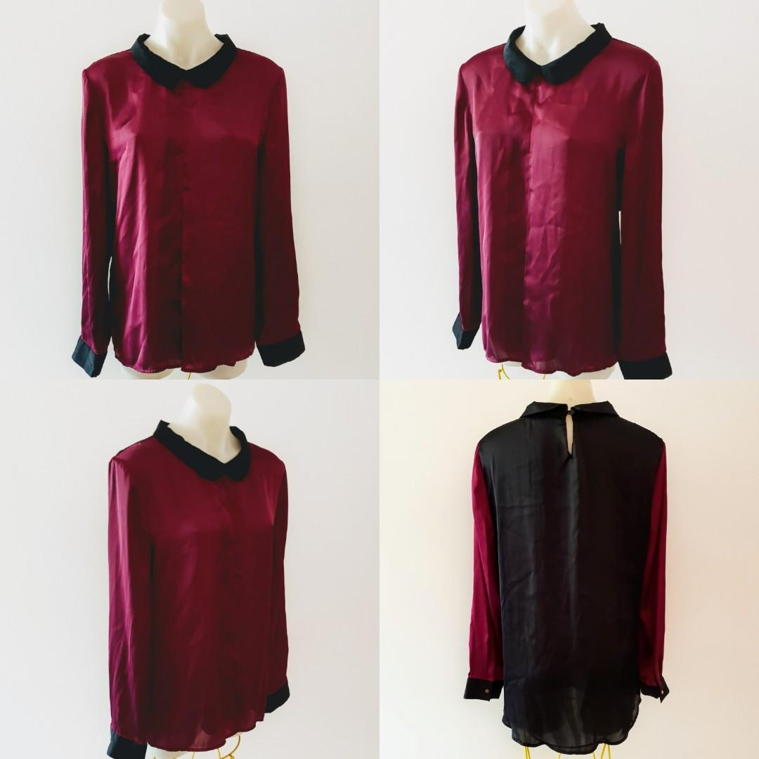 Women's size 16 'LIMITED EDITIONS' Stunning burgundy and black long sleeved blouse - AS NEW