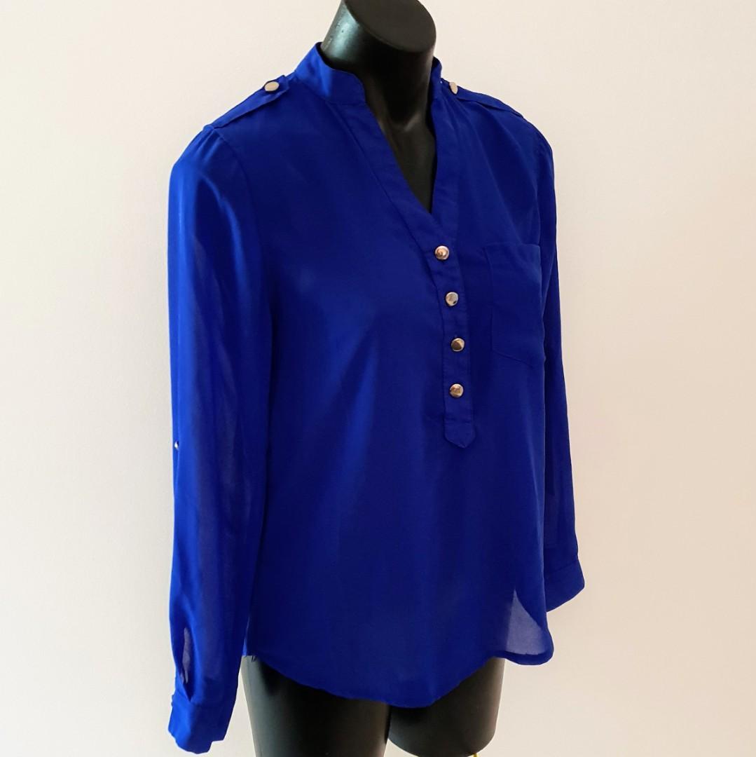 Women's size L (10-12) 'KIVENST HIGH FASHION' Stunning royal blue blouse -AS NEW