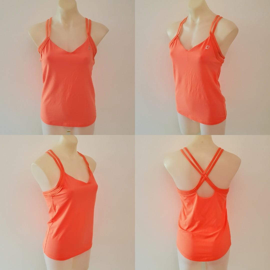 Women's size M 'LORNA JANE' Gorgeous orange active wear criss cross top - AS NEW