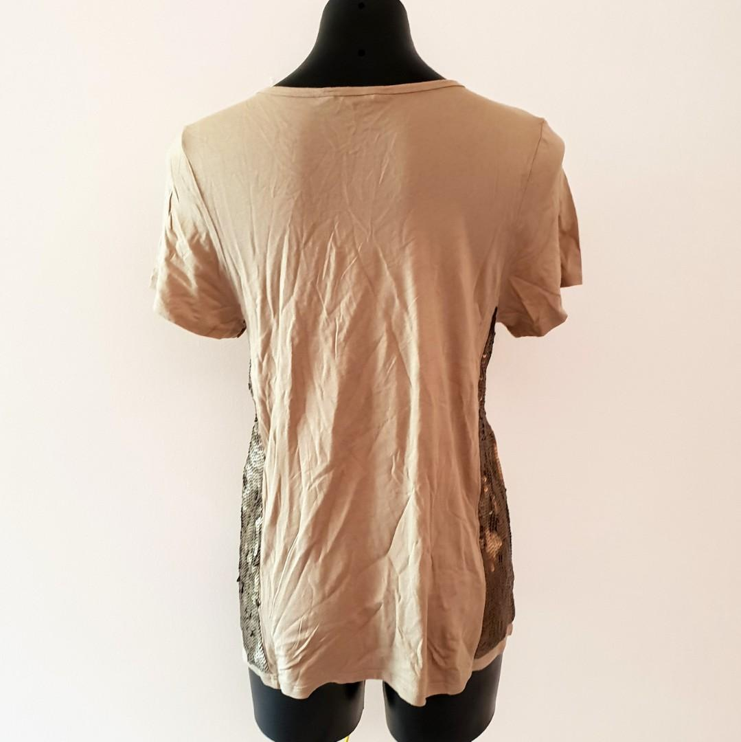 Women's size M 'SEED HERITAGE' Gorgeous khaki top with sequins - AS NEW