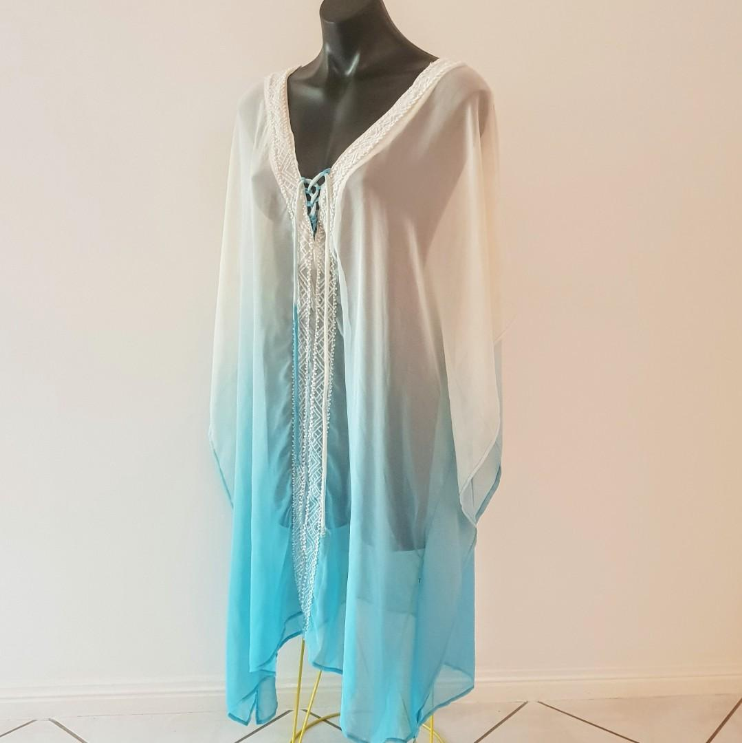 Women's Stunning one size ombre white and turquoise long kaftan with beading - AS NEW