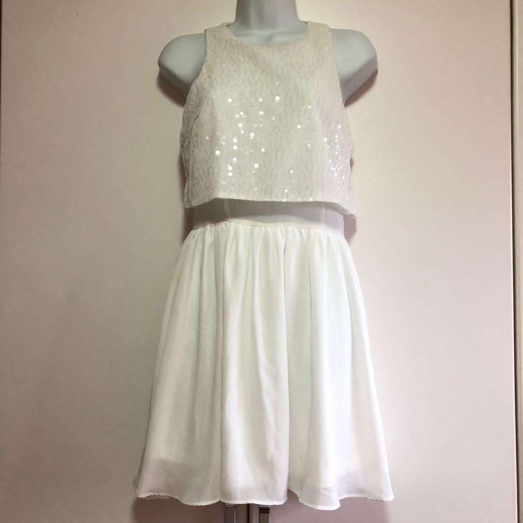 5411bf2cd53 ZALORA Sequin Little White Dress