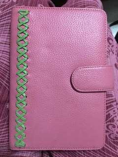 Pink leather organizer