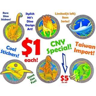 Stickers (Giant Size Dinosaur Design 90's style)*CLEARANCE SALE! Lowest Cheapest Prices offer $1 now only! *Limited Stock!*