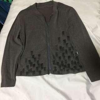 簡約風 多重格子影圖案圓領長袖外套