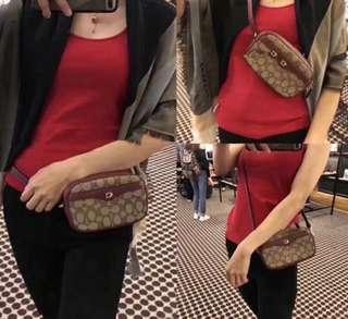 Authentic coach women belt bag sling bag monogram canvas