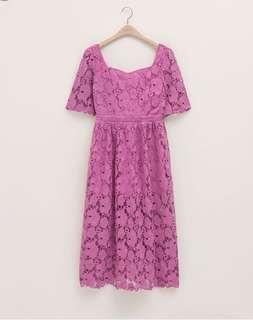 🚚 Pazzo蕾絲粉色長洋裝