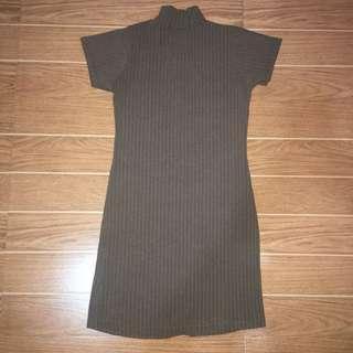 Ribbed Turtleneck Dress (Brown)