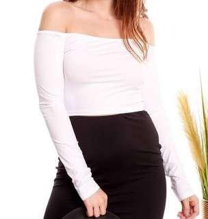 Off-shoulder Long Sleeve (White)