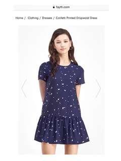 BNWT Fayth Confetti Printed Dropwaist Dress (Navy)