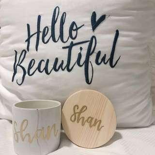 🚚 vday customised marble mug & coaster set