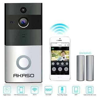 AKASO Video Doorbell, Smart Doorbell 720P HD Wifi Security Camera with 8G Memory Storage, Real-Time Two-Way Talk and Video, Night Vision, PIR Motion Detection and App Control for IOS and Android -----  1143