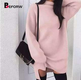 (PO) S-XL Winter Long Sleeve Women Sweater Dress Fashion Turtleneck Knitted Dresses Casual Plus Size
