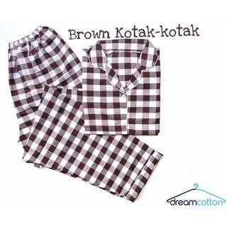 Piyama/Baju Tidur/Sleep Wear Brown Kotak-kotak Longpants Bahan Katun Jepang