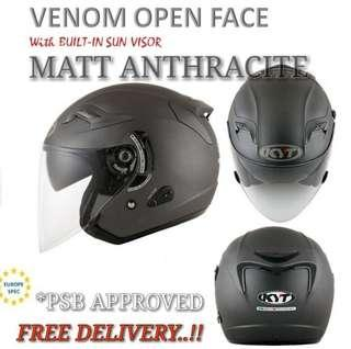 *PROMO PSB APPROVED KYT MATT ANTHRACITE HELMETS..😎