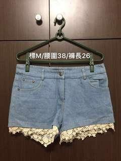 🚚 提花淺藍牛仔短褲