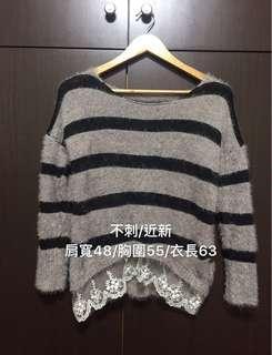 🚚 條紋蕾絲毛上衣