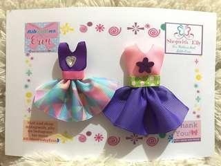 Mini dress bow clips