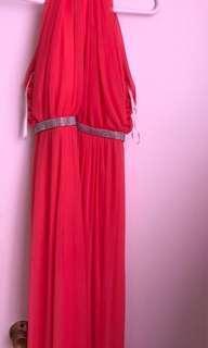 Pink halter maxi dress