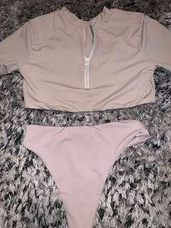 AEXA Swim beige/stone set size M (8-10)