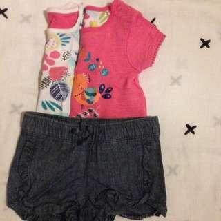 Mothercare tops • Old Navy shorts 3mos