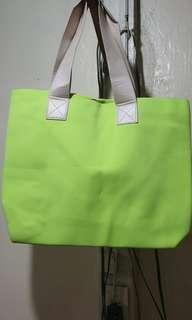 Preloved tote neon green bag