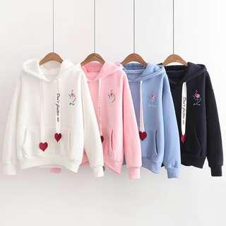 Korean Unisex Flamingo Embroidery Casual Hoodies Sweater Loose Tops