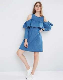 ASOS Denim Shift Dress with Cold Shoulder and Ruffle Detail