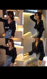 Polka dot long sleeve blouse